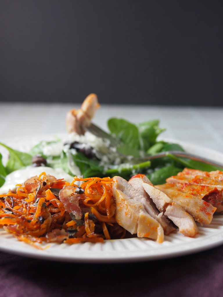 sweet potato with sage and pancetta | asavoryplate.com
