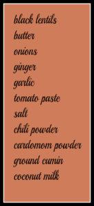 Black lentil dal ingredients